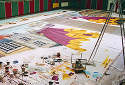 An aerial shot of the canvas and my 'palette'.