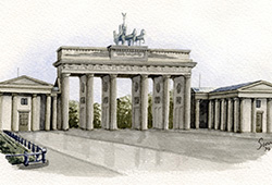 This is from the same collage - watercolour of the Brandenburg Gate.