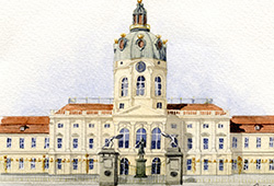 This is a watercolour of Charlottenburg Palace, near to where I now live. It forms part of a collage I painted of famous Berlin landmarks.