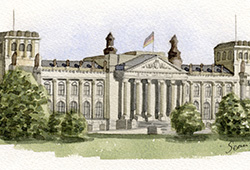 This is from the same collage - watercolour of Berlin's Reichstag.