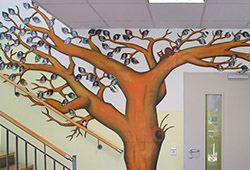 After quite a few years with my brushes safely in their box, in November 2008 I finished the Tree of Life. This stood in the entrance to a Primary School and its leaves each showed the face of a pupil.