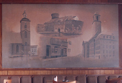 This is a painting of local Spandau sites, plus the pub where this is painted.
